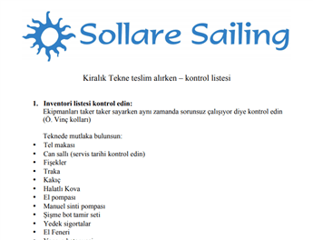 Sollare Sailing Charter Check List
